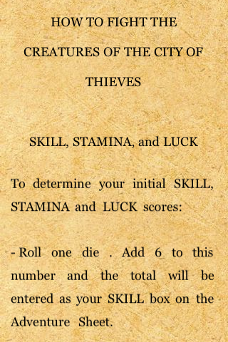 Fighting Fantasy: City of Thieves iPhone Game mechanics instructions