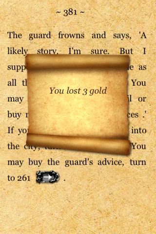 Fighting Fantasy: City of Thieves iPhone On the fly inventory modification