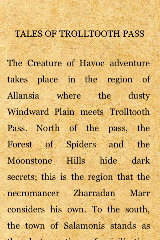 Fighting Fantasy: Creature of Havoc iPhone The beginning of an extraordinarily extensive background infodump