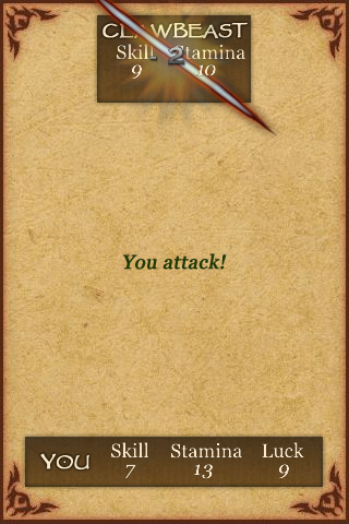 Fighting Fantasy: Creature of Havoc iPhone Take that, Clawbeast!