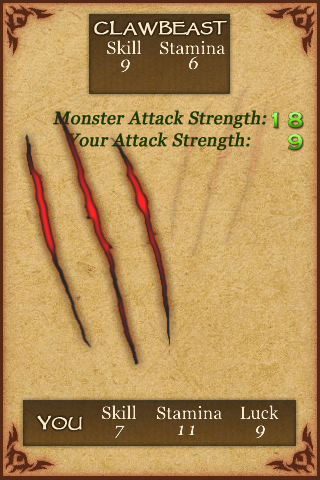 Fighting Fantasy: Creature of Havoc iPhone Instant death!  Complete with new animation.