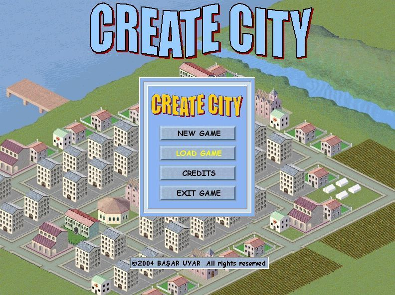 Create City Windows The game's main menu screen. The background is a harbour city created in level three