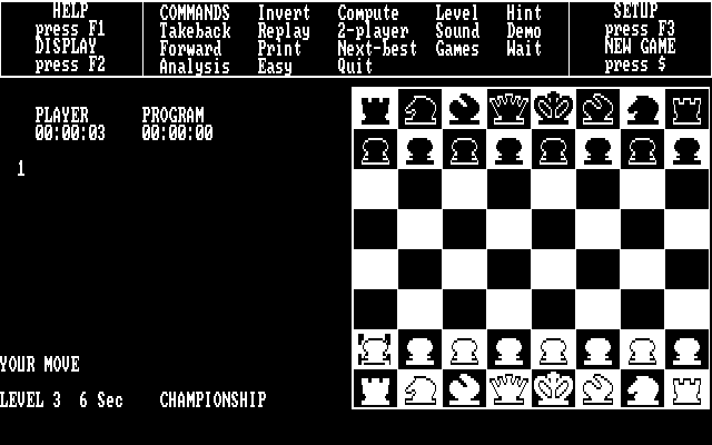 Psion Chess DOS Playing chess in 2D-board mode