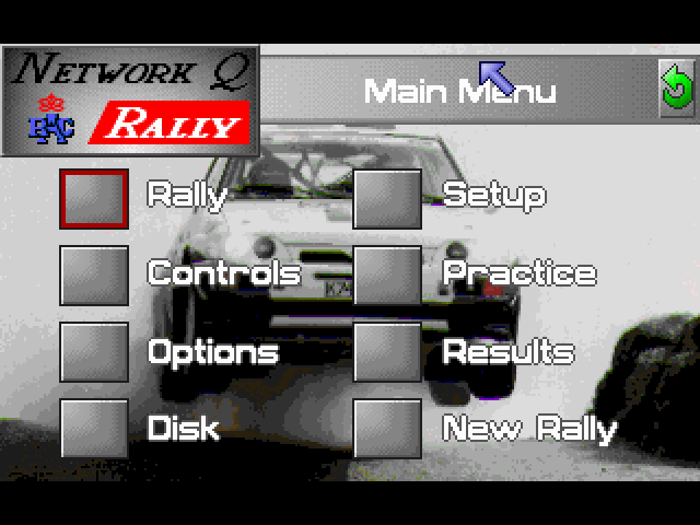 Network Q RAC Rally FM Towns Main menu