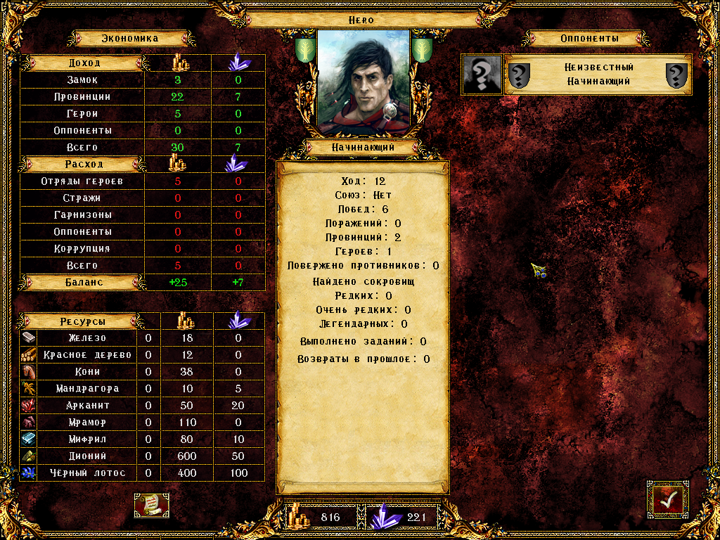 Eador: Genesis Windows Kingdom statistics, showing income and expenditures, as well as rare resources and other important information.