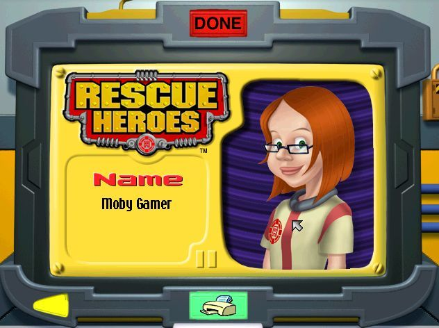 Rescue Heroes: Meteor Madness Windows Once they have signed on the player can choose a picture and print out a Rescue Heroes id badge