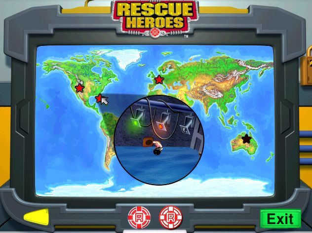 Rescue Heroes: Meteor Madness Windows The fires in the Australian Outback are extinguished so that star no longer glows red on the operations map. The next destination is the film studio where a buxom young lady needs help.
