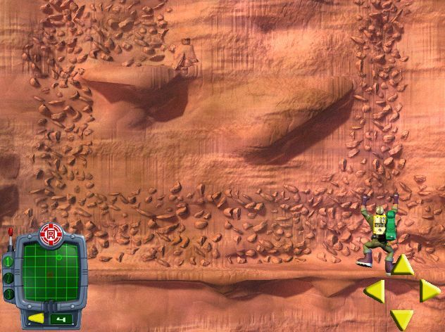 "Rescue Heroes: Meteor Madness Windows In ""Klondike Canyons"" the player must locate and rescue stranded hikers. The Data Pak radar screen shows where they are in relation to hero Rocky"