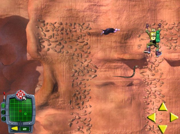 Rescue Heroes: Meteor Madness Windows This screen shot shows two of the three hazards Rocky faces, vultures and snakes. Snakes patrol a platform and strike if he's too near. Vultures swoop across the screen and rocks fall downwards