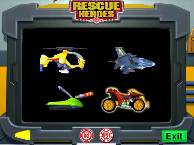 Rescue Heroes: Meteor Madness Windows The player can display any of the Rescue Heroes vehicles via a button on the bottom of the command centre screen