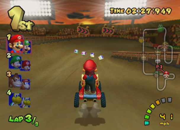 Mario Kart: Double Dash!! GameCube Gameplay on Waluigi Stadium.