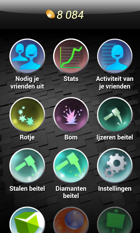 Curiosity Android Menu screen where you can spend coins (Dutch version).