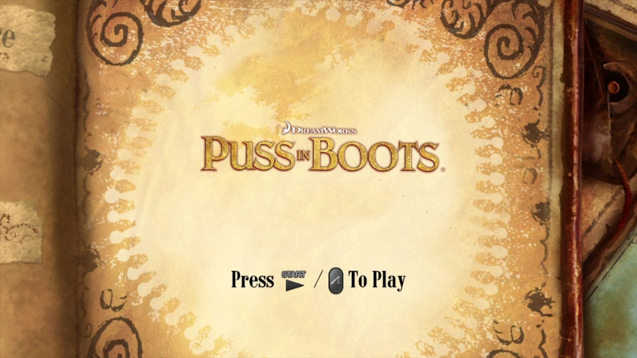 DreamWorks Puss in Boots PlayStation 3 Start screen