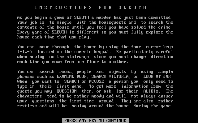 Sleuth DOS Instructions (part 1 of 4)