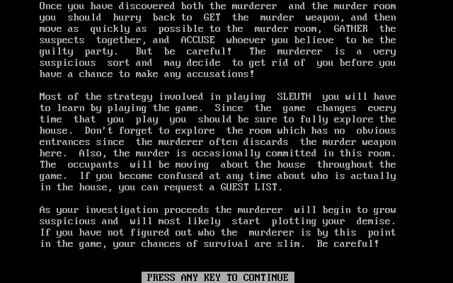 Sleuth DOS Instructions (part 3 of 4)