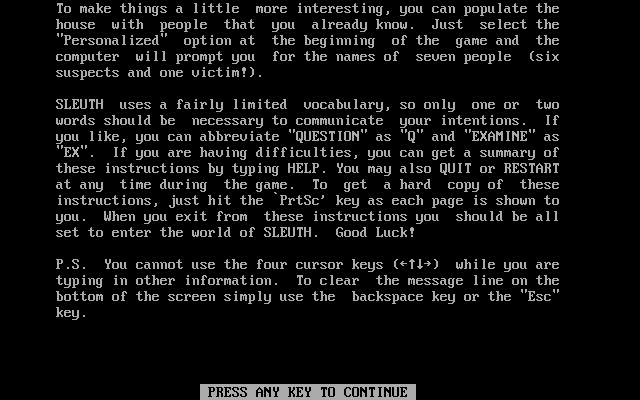 Sleuth DOS Instructions (part 4 of 4)