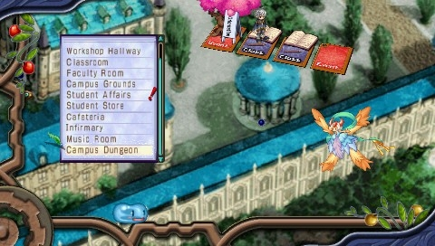 Mana Khemia: Alchemists of Al-Revis PSP We go to different places in the Academy and outside of it using a text menu. More places become accessible as the game progresses