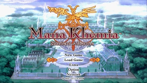 Mana Khemia: Alchemists of Al-Revis PSP Title screen and main menu