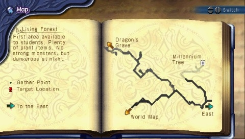Mana Khemia: Alchemists of Al-Revis PSP Areas are mapped as we explore them