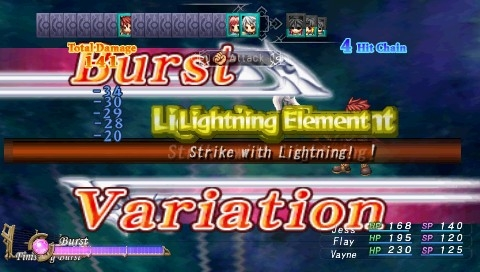 Mana Khemia: Alchemists of Al-Revis PSP Burst Variation is a special mode that increases the power of party's attacks. If we meet special conditions then Finishing Burst move becomes available