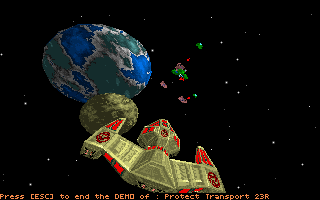 Star Quest I in the 27th Century DOS A shot from a self-running demo, showing a chase view of an enemy craft.