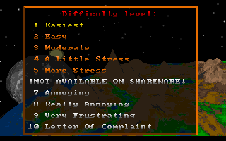 Star Quest I in the 27th Century DOS Picking a difficulty setting (not all are available in the shareware version).