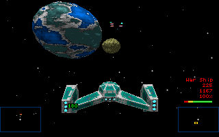 Star Quest I in the 27th Century DOS External view of the player's ship with a transparent overlay of the HUD.