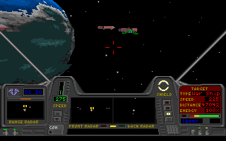 Star Quest I in the 27th Century DOS Trying to pick off an enemy craft that is busy attacking the convoy.