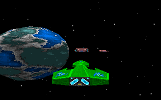 Star Quest I in the 27th Century DOS Chase view of an enemy ship.