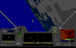 Star Quest I in the 27th Century DOS You can actually fly into the atmosphere of a nearby planet. Note the blue colour of its atmosphere.