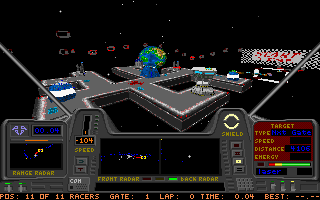 Star Quest I in the 27th Century DOS A view of the starport where the racing takes place.