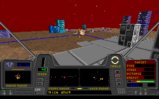 Star Quest I in the 27th Century DOS The objective here is to take out power supply stations of a computer central, so that the enemy can't steal the data from it.