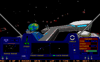 Star Quest I in the 27th Century DOS You can pick one of quite a few colour schemes for the cockpit.