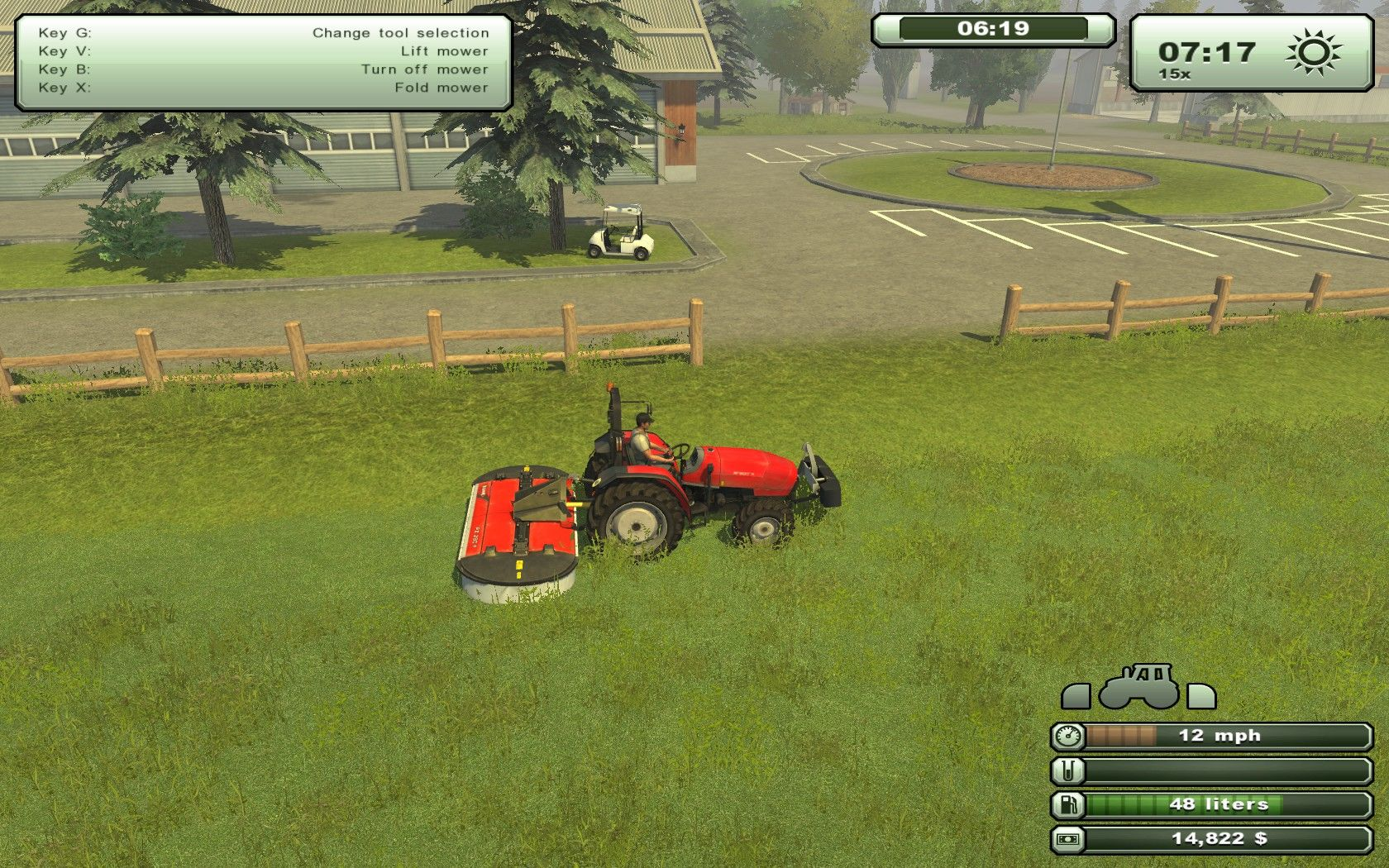 Farming Simulator 2013 Windows Mowing the local golf course.
