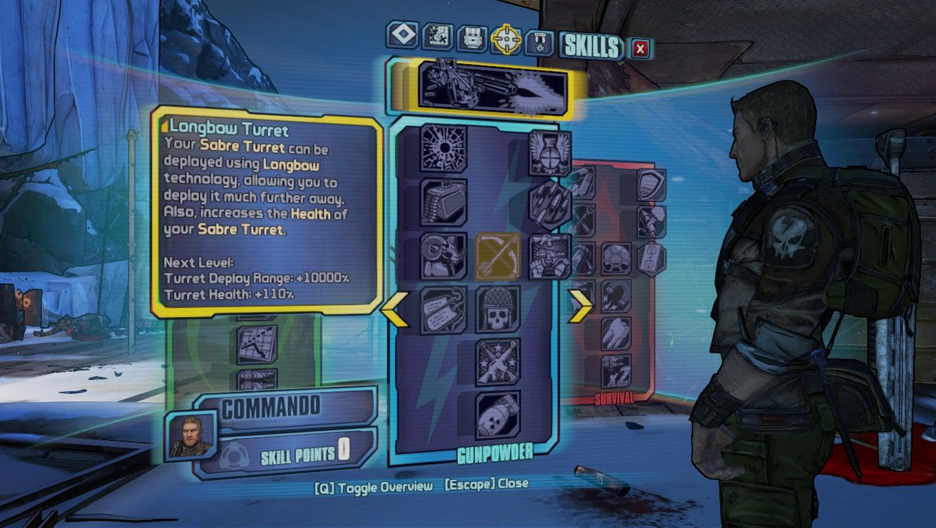 Borderlands 2 Windows Skill points menu