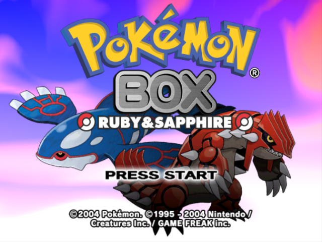 Pokémon Box: Ruby & Sapphire GameCube Title Screen