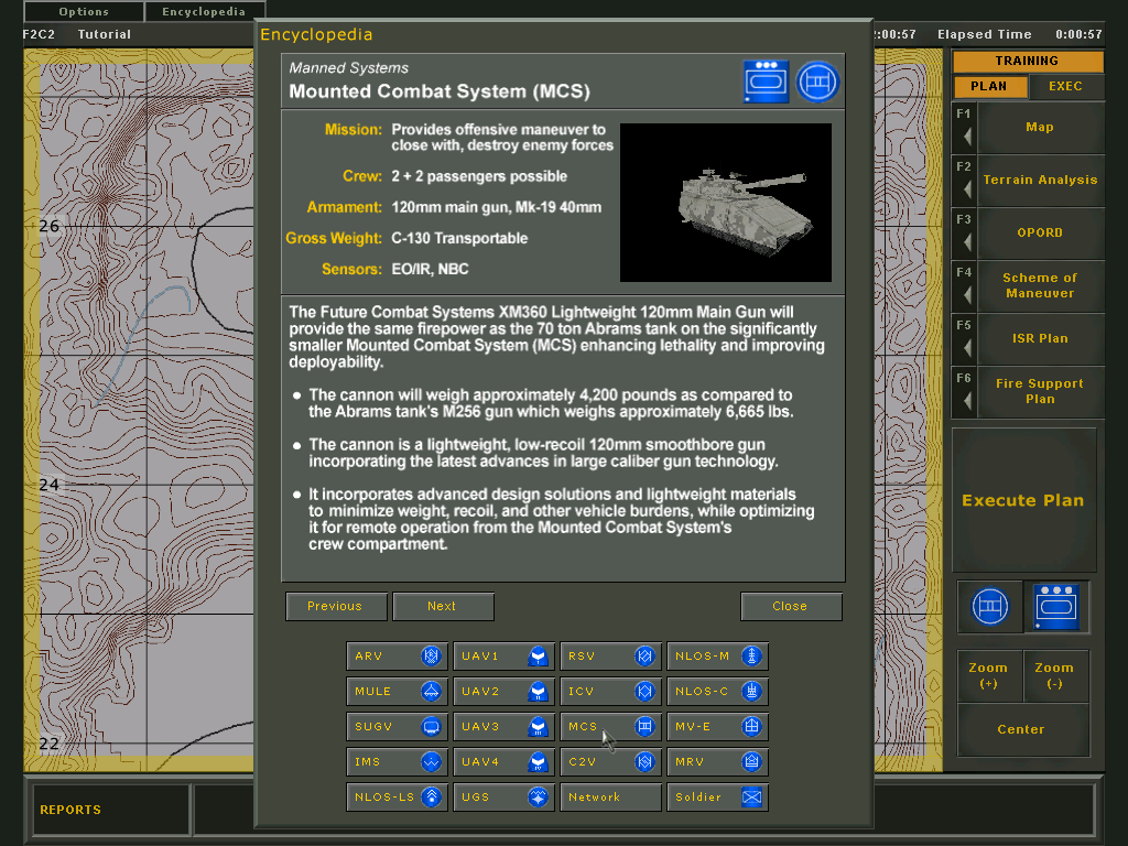 Future Force Company Commander Windows Encyclopedia: MCV - the armoured tank used in the training mission.