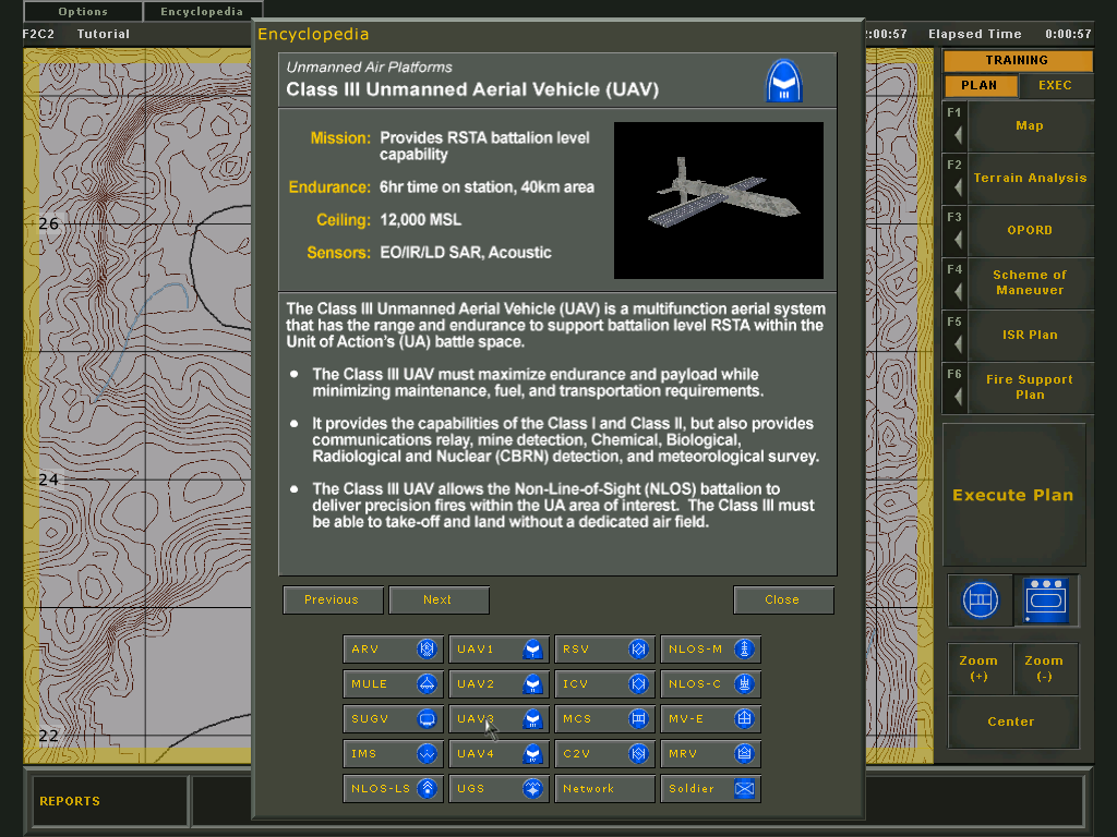 Future Force Company Commander Windows Encyclopedia: One of several UAV types available.