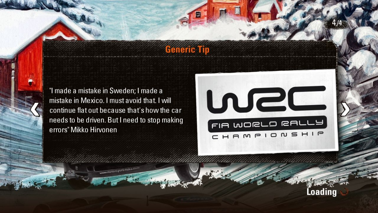 WRC 3: FIA World Rally Championship PlayStation 3 Loading screens display various tips or quotations.