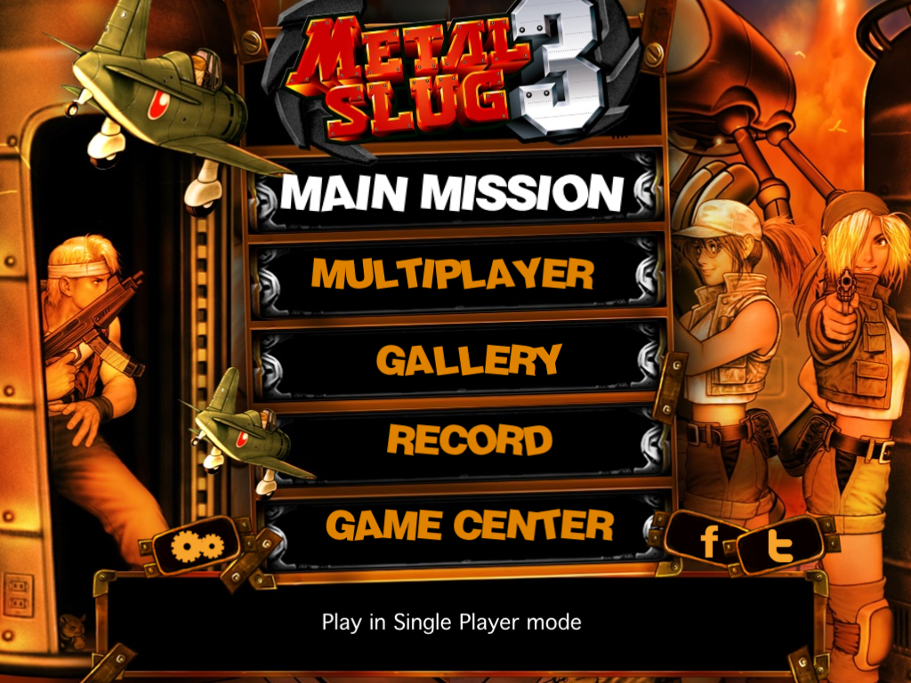 Metal Slug 3 iPad Main menu