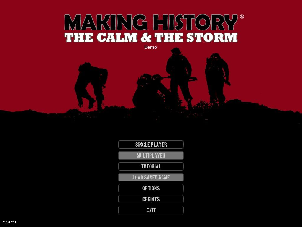 Making History: The Calm & The Storm Windows Title Screen / Main Menu