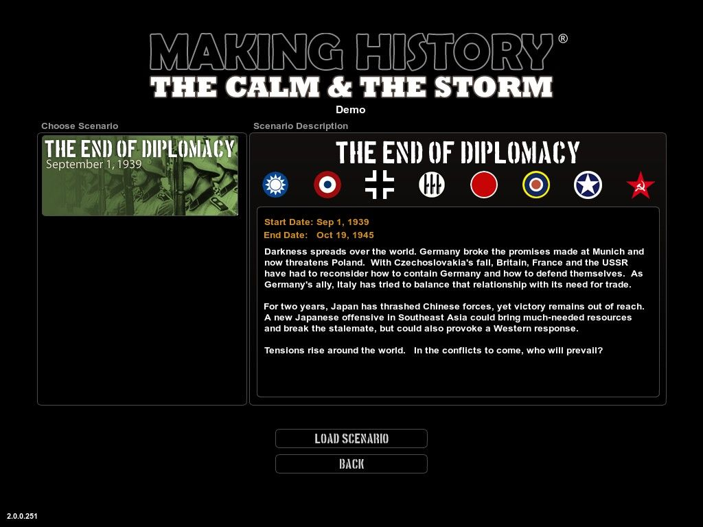 Making History: The Calm & The Storm Windows Scenario selection