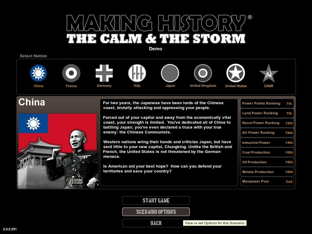 Making History: The Calm & The Storm Windows Scenario description and nation selection