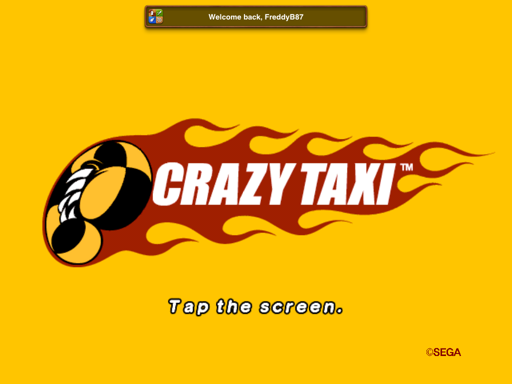 Crazy Taxi iPad Title screen