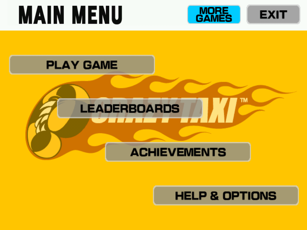 Crazy Taxi iPad Main menu