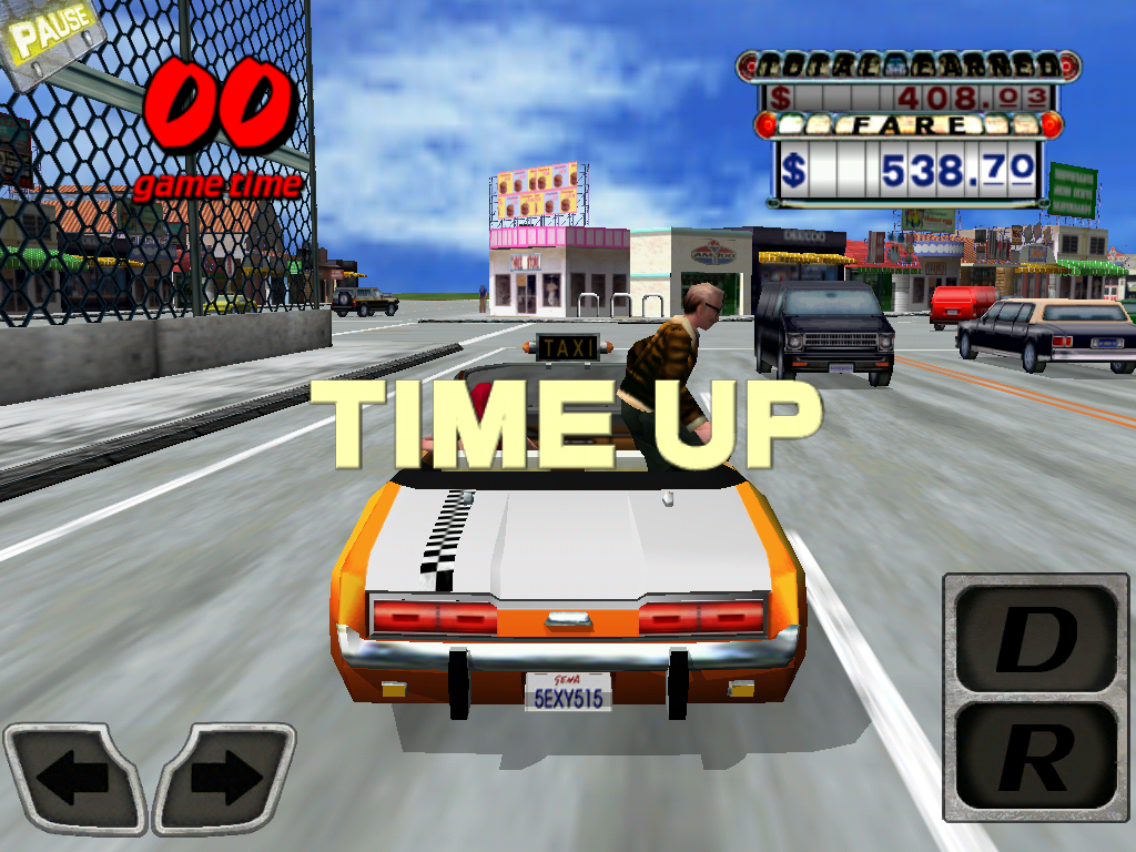Crazy Taxi iPad Time is up.