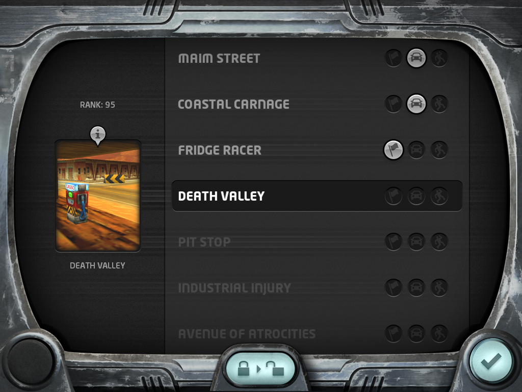 Carmageddon iPad Race selection screen