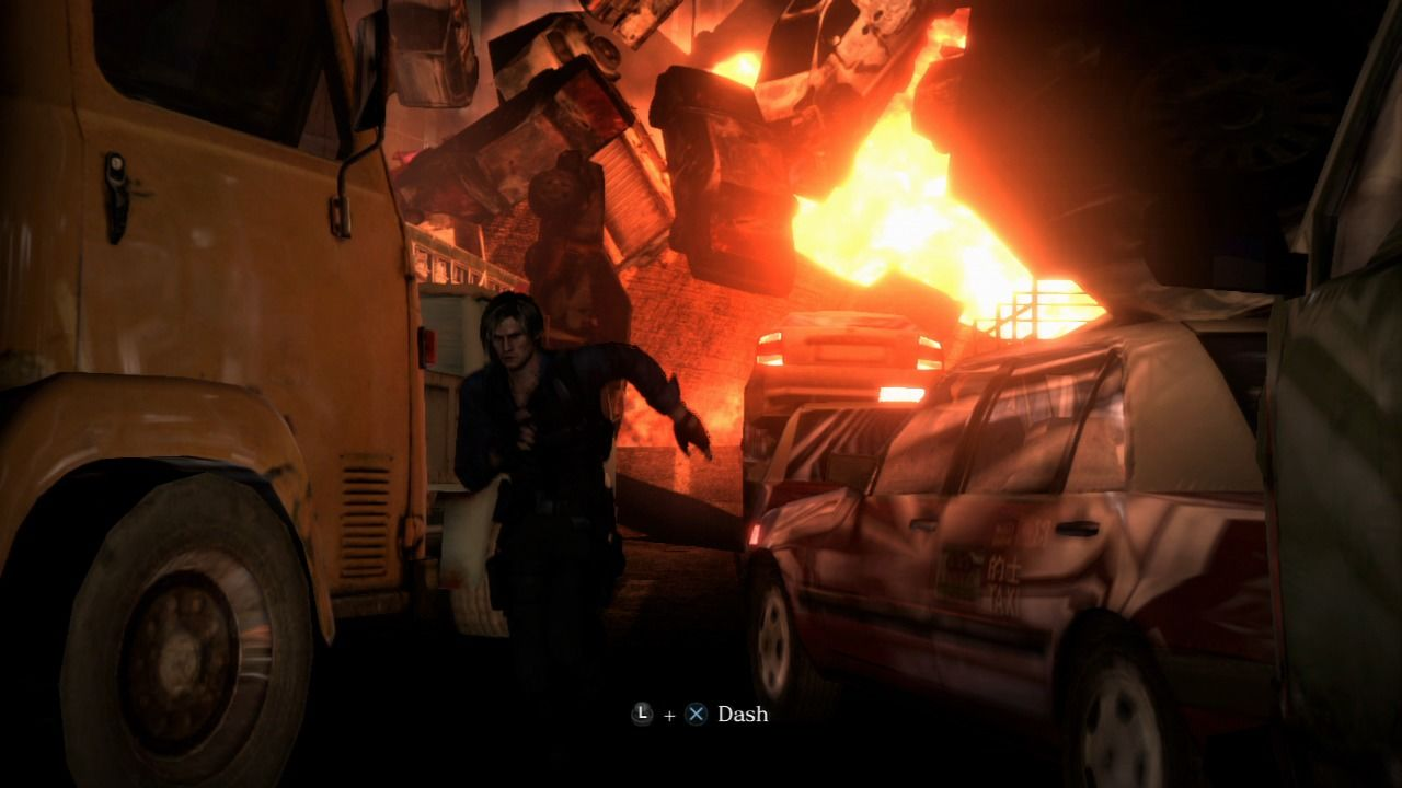 Resident Evil 6 PlayStation 3 Trying to outrun the chain reaction.