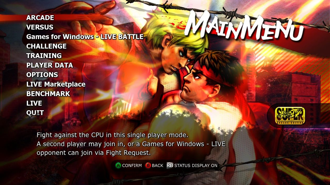 Super Street Fighter IV: Arcade Edition Windows Main menu.