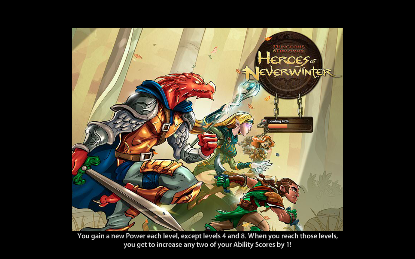 Dungeons & Dragons: Heroes of Neverwinter Browser Loading screen depicting the game's four premade heroes.
